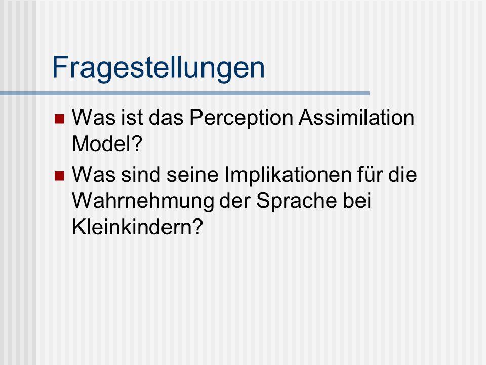 Fragestellungen Was ist das Perception Assimilation Model? Was sind seine Implikationen für die Wahrnehmung der Sprache bei Kleinkindern?