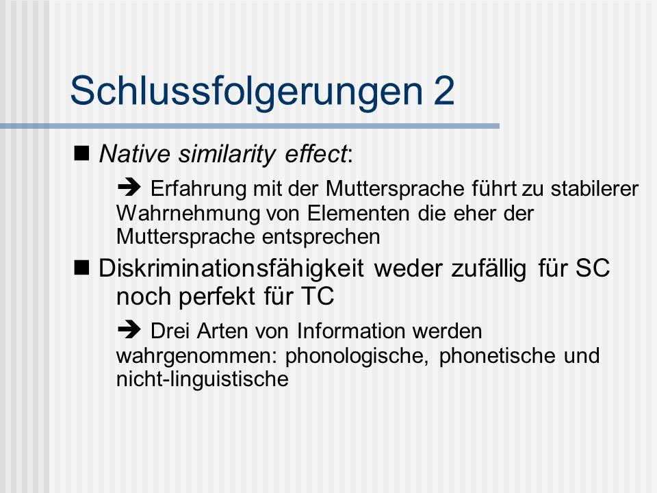Schlussfolgerungen 2 Native similarity effect: Erfahrung mit der Muttersprache führt zu stabilerer Wahrnehmung von Elementen die eher der Muttersprach