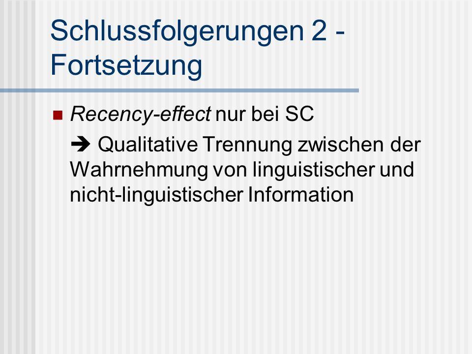 Schlussfolgerungen 2 - Fortsetzung Recency-effect nur bei SC Qualitative Trennung zwischen der Wahrnehmung von linguistischer und nicht-linguistischer