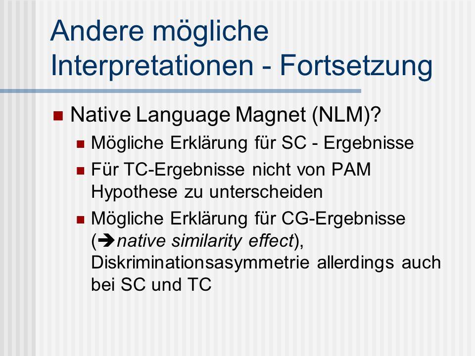 Andere mögliche Interpretationen - Fortsetzung Native Language Magnet (NLM)? Mögliche Erklärung für SC - Ergebnisse Für TC-Ergebnisse nicht von PAM Hy