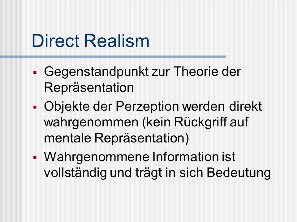 Direct Realism Gegenstandpunkt zur Theorie der Repräsentation Objekte der Perzeption werden direkt wahrgenommen (kein Rückgriff auf mentale Repräsenta