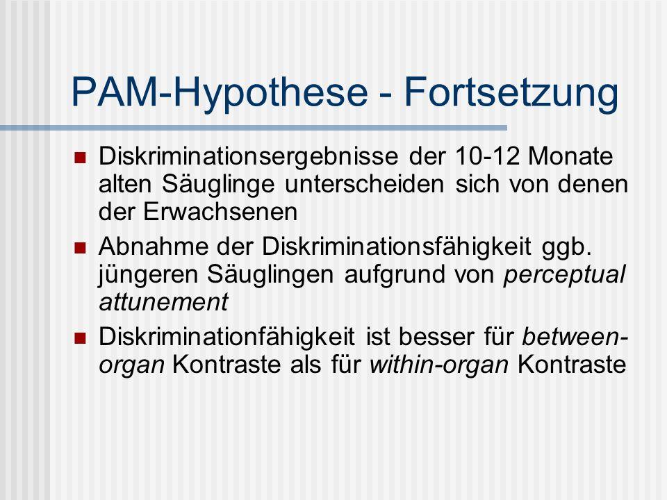 PAM-Hypothese - Fortsetzung Diskriminationsergebnisse der 10-12 Monate alten Säuglinge unterscheiden sich von denen der Erwachsenen Abnahme der Diskri