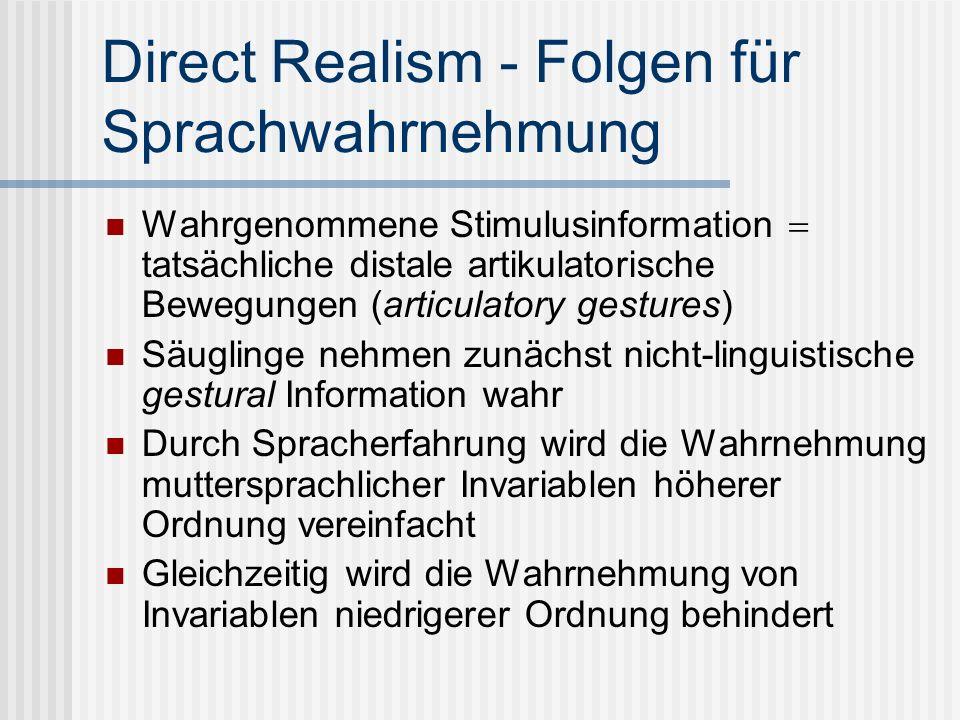 Direct Realism - Folgen für Sprachwahrnehmung Wahrgenommene Stimulusinformation tatsächliche distale artikulatorische Bewegungen (articulatory gesture