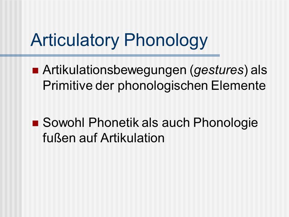 Articulatory Phonology Artikulationsbewegungen (gestures) als Primitive der phonologischen Elemente Sowohl Phonetik als auch Phonologie fußen auf Arti