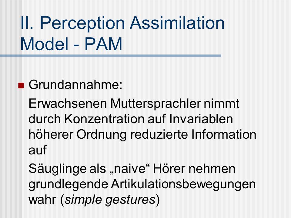 II. Perception Assimilation Model - PAM Grundannahme: Erwachsenen Muttersprachler nimmt durch Konzentration auf Invariablen höherer Ordnung reduzierte