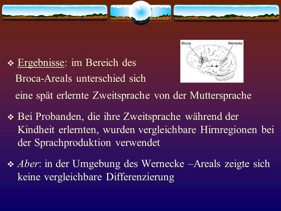 Ergebnisse: im Bereich des Broca-Areals unterschied sich eine spät erlernte Zweitsprache von der Muttersprache Bei Probanden, die ihre Zweitsprache wä