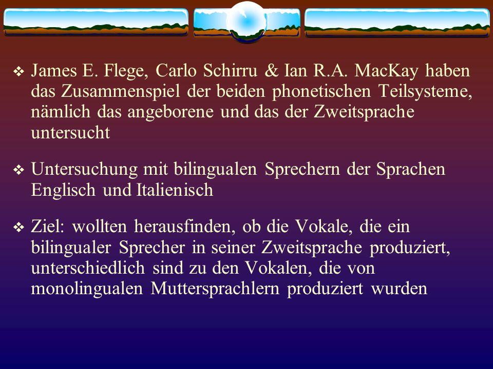 James E. Flege, Carlo Schirru & Ian R.A. MacKay haben das Zusammenspiel der beiden phonetischen Teilsysteme, nämlich das angeborene und das der Zweits