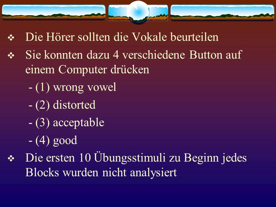 Die Hörer sollten die Vokale beurteilen Sie konnten dazu 4 verschiedene Button auf einem Computer drücken - (1) wrong vowel - (2) distorted - (3) acce