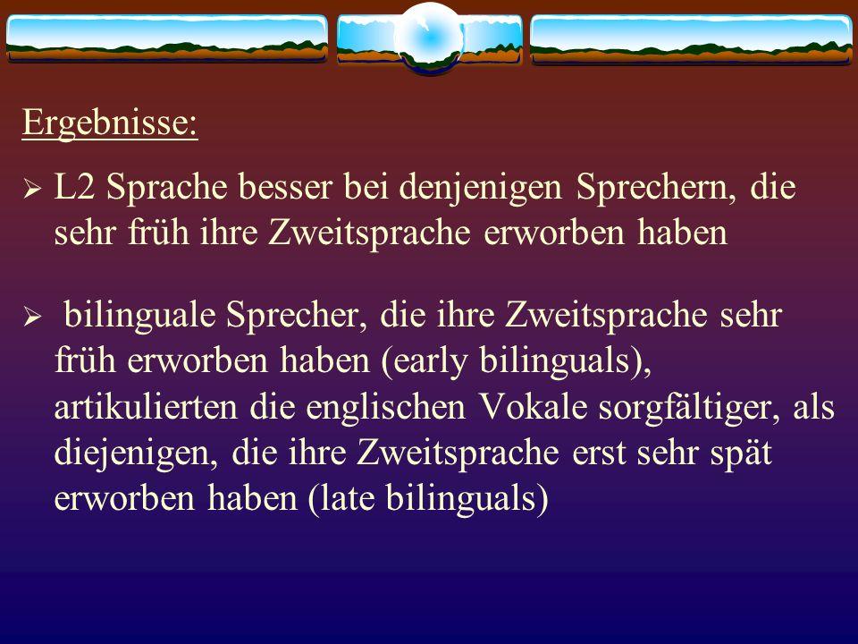 Ergebnisse: L2 Sprache besser bei denjenigen Sprechern, die sehr früh ihre Zweitsprache erworben haben bilinguale Sprecher, die ihre Zweitsprache sehr