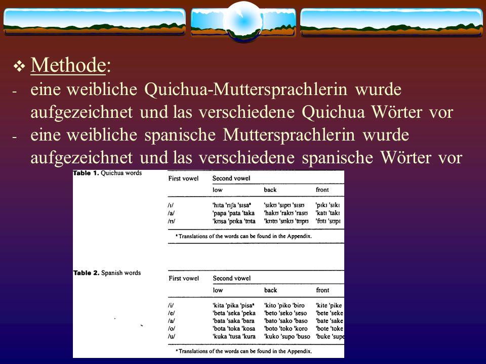 Methode: - eine weibliche Quichua-Muttersprachlerin wurde aufgezeichnet und las verschiedene Quichua Wörter vor - eine weibliche spanische Muttersprac