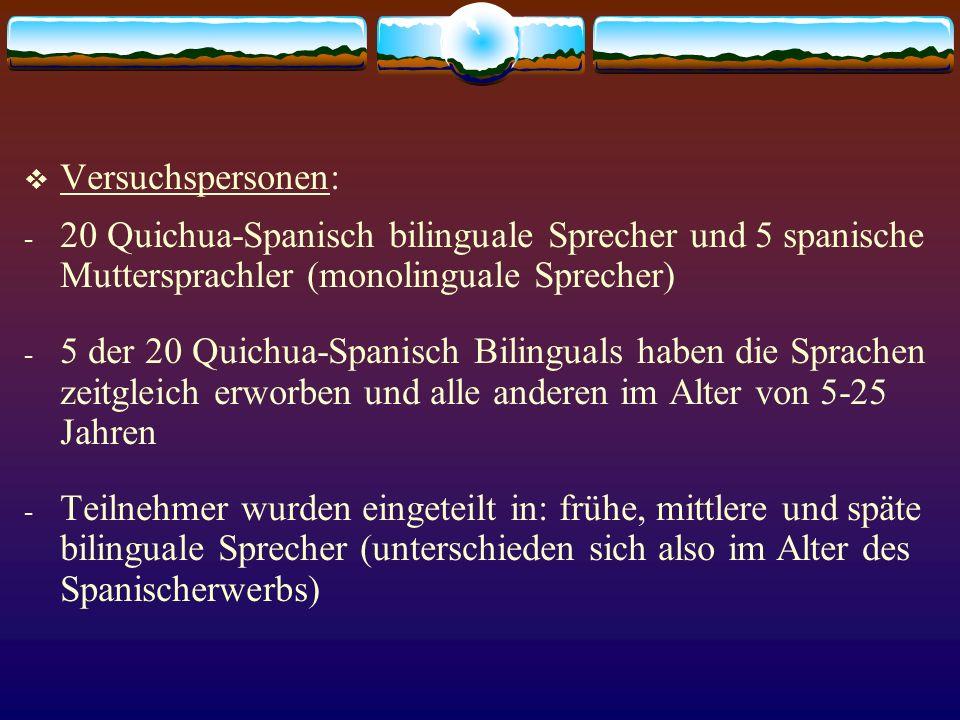 Versuchspersonen: - 20 Quichua-Spanisch bilinguale Sprecher und 5 spanische Muttersprachler (monolinguale Sprecher) - 5 der 20 Quichua-Spanisch Biling