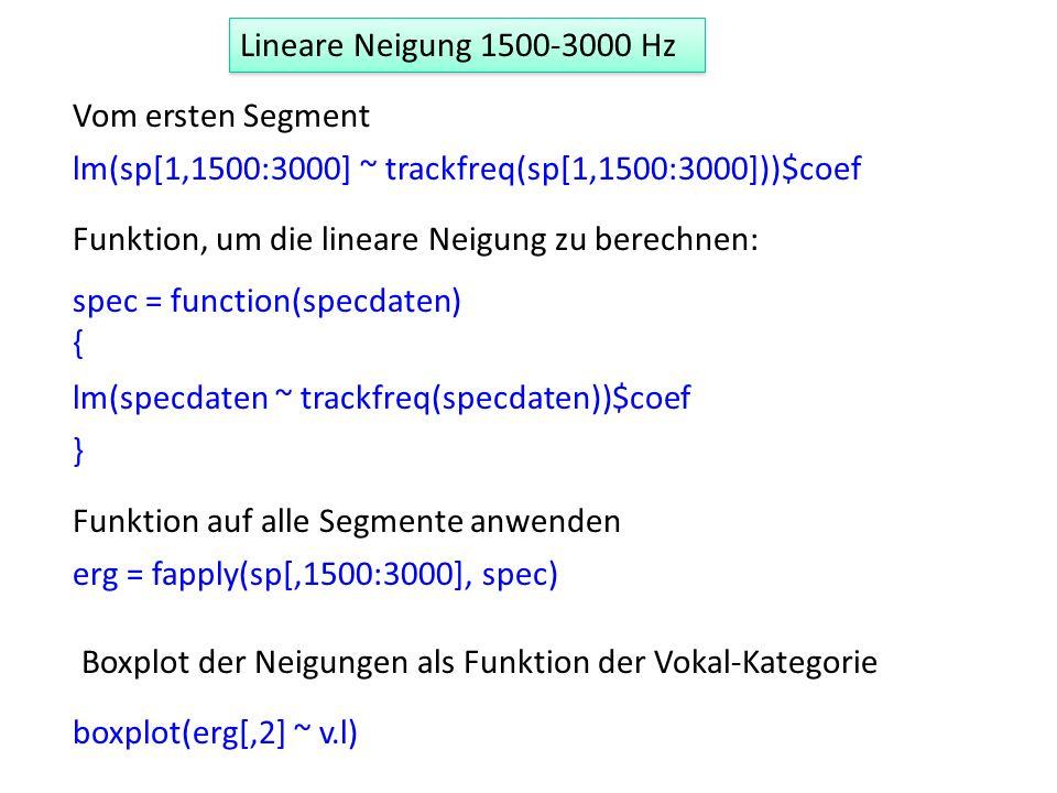 Lineare Neigung 1500-3000 Hz Vom ersten Segment lm(sp[1,1500:3000] ~ trackfreq(sp[1,1500:3000]))$coef Funktion, um die lineare Neigung zu berechnen: s
