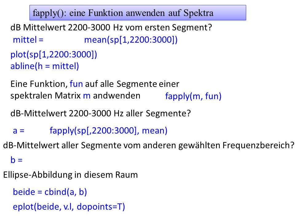 dB Mittelwert 2200-3000 Hz vom ersten Segment? mittel = plot(sp[1,2200:3000]) abline(h = mittel) Eine Funktion, fun auf alle Segmente einer spektralen