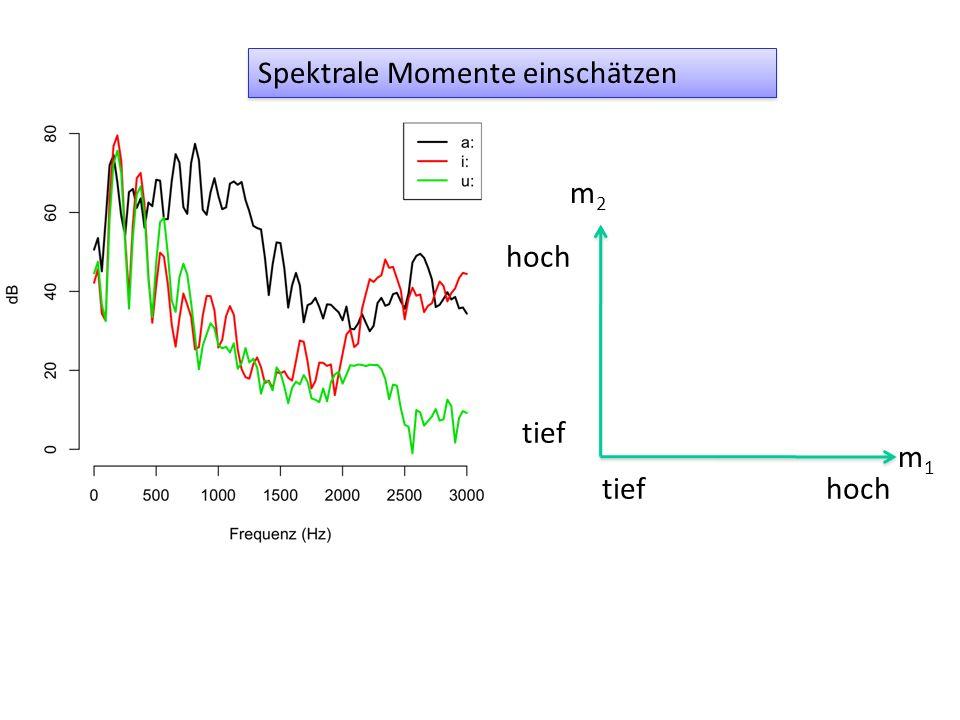 Die spektralen Momente im Bereich 0-3000 Hz vom ersten Segment.