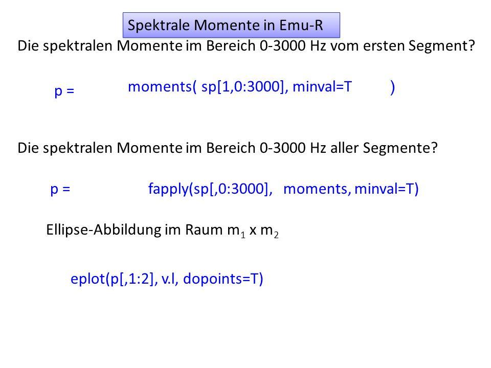 Die spektralen Momente im Bereich 0-3000 Hz vom ersten Segment? p = moments( ) sp[1,0:3000], minval=T p =fapply(sp[,0:3000], Ellipse-Abbildung im Raum