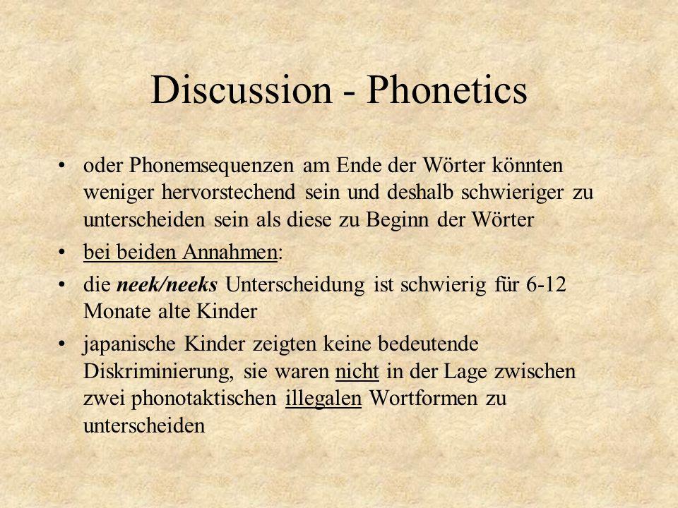 Discussion - Phonetics oder Phonemsequenzen am Ende der Wörter könnten weniger hervorstechend sein und deshalb schwieriger zu unterscheiden sein als d