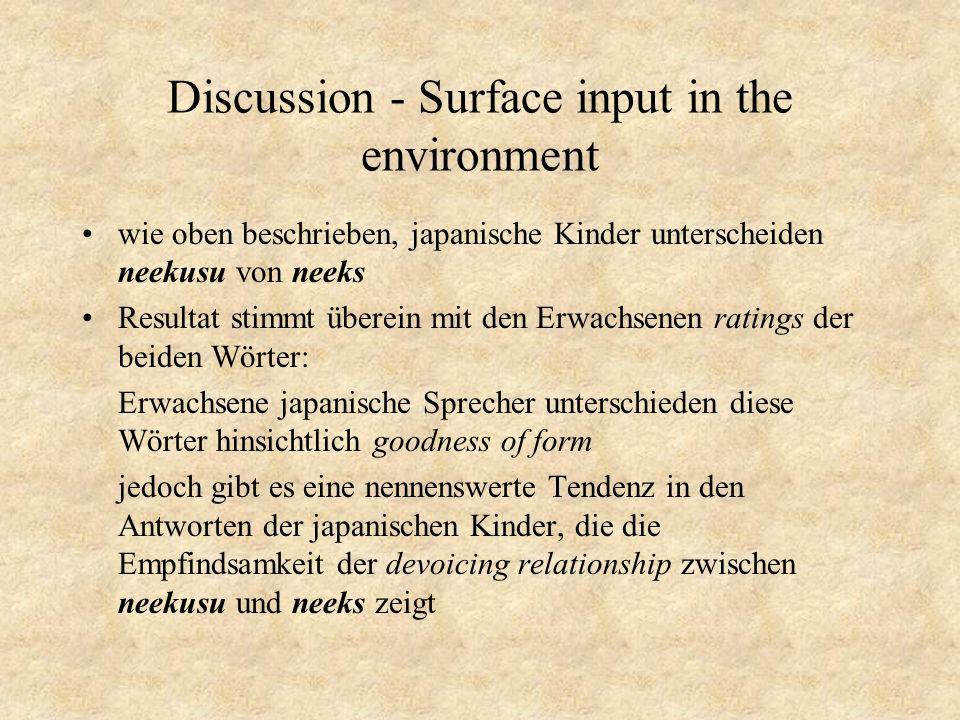 Discussion - Surface input in the environment wie oben beschrieben, japanische Kinder unterscheiden neekusu von neeks Resultat stimmt überein mit den