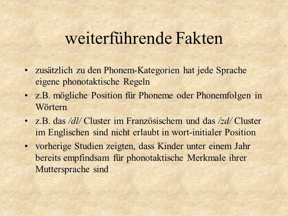 weiterführende Fakten zusätzlich zu den Phonem-Kategorien hat jede Sprache eigene phonotaktische Regeln z.B. mögliche Position für Phoneme oder Phonem