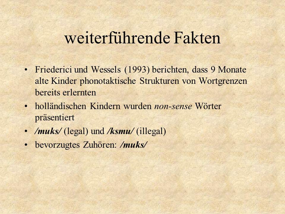 weiterführende Fakten Friederici und Wessels (1993) berichten, dass 9 Monate alte Kinder phonotaktische Strukturen von Wortgrenzen bereits erlernten holländischen Kindern wurden non-sense Wörter präsentiert /muks/ (legal) und /ksmu/ (illegal) bevorzugtes Zuhören: /muks/