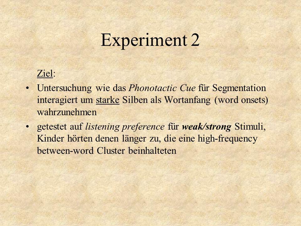 Experiment 2 Ziel: Untersuchung wie das Phonotactic Cue für Segmentation interagiert um starke Silben als Wortanfang (word onsets) wahrzunehmen getestet auf listening preference für weak/strong Stimuli, Kinder hörten denen länger zu, die eine high-frequency between-word Cluster beinhalteten