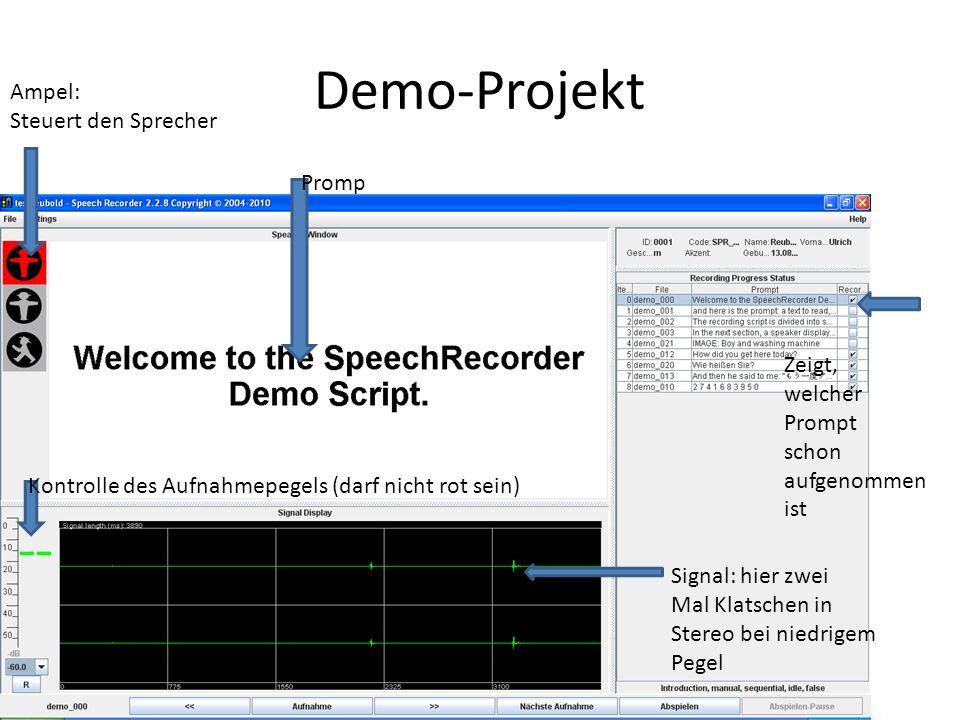 Demo-Projekt Ampel: Steuert den Sprecher Zeigt, welcher Prompt schon aufgenommen ist Promp Signal: hier zwei Mal Klatschen in Stereo bei niedrigem Pegel Kontrolle des Aufnahmepegels (darf nicht rot sein)