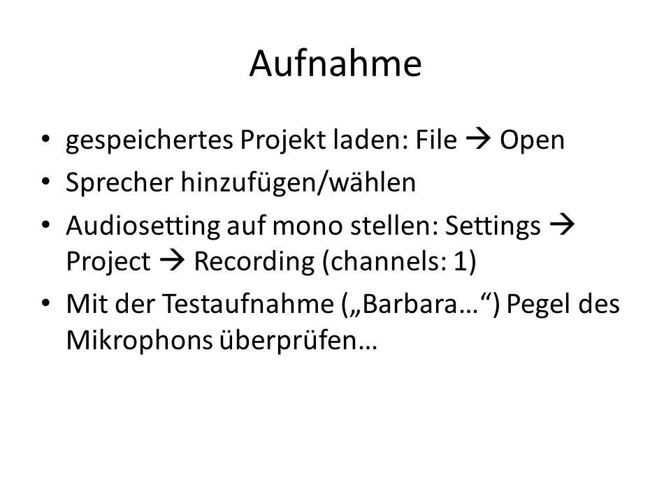 Aufnahme gespeichertes Projekt laden: File Open Sprecher hinzufügen/wählen Audiosetting auf mono stellen: Settings Project Recording (channels: 1) Mit