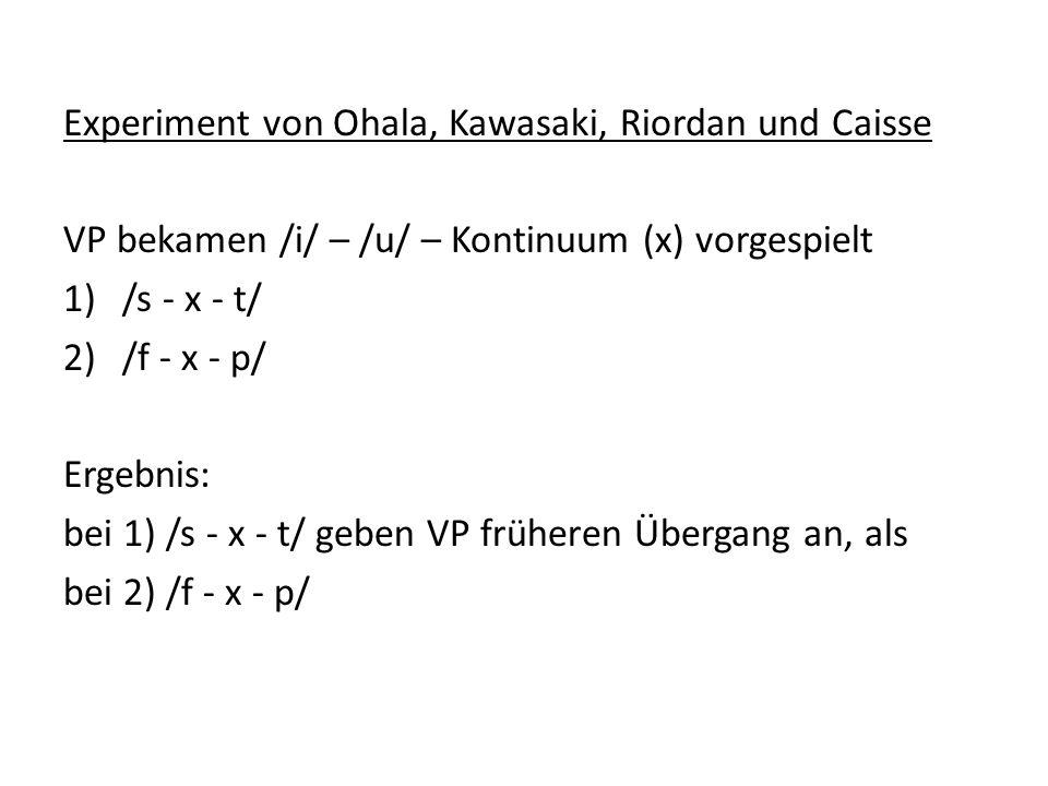 Experiment von Ohala, Kawasaki, Riordan und Caisse VP bekamen /i/ – /u/ – Kontinuum (x) vorgespielt 1)/s - x - t/ 2)/f - x - p/ Ergebnis: bei 1) /s -