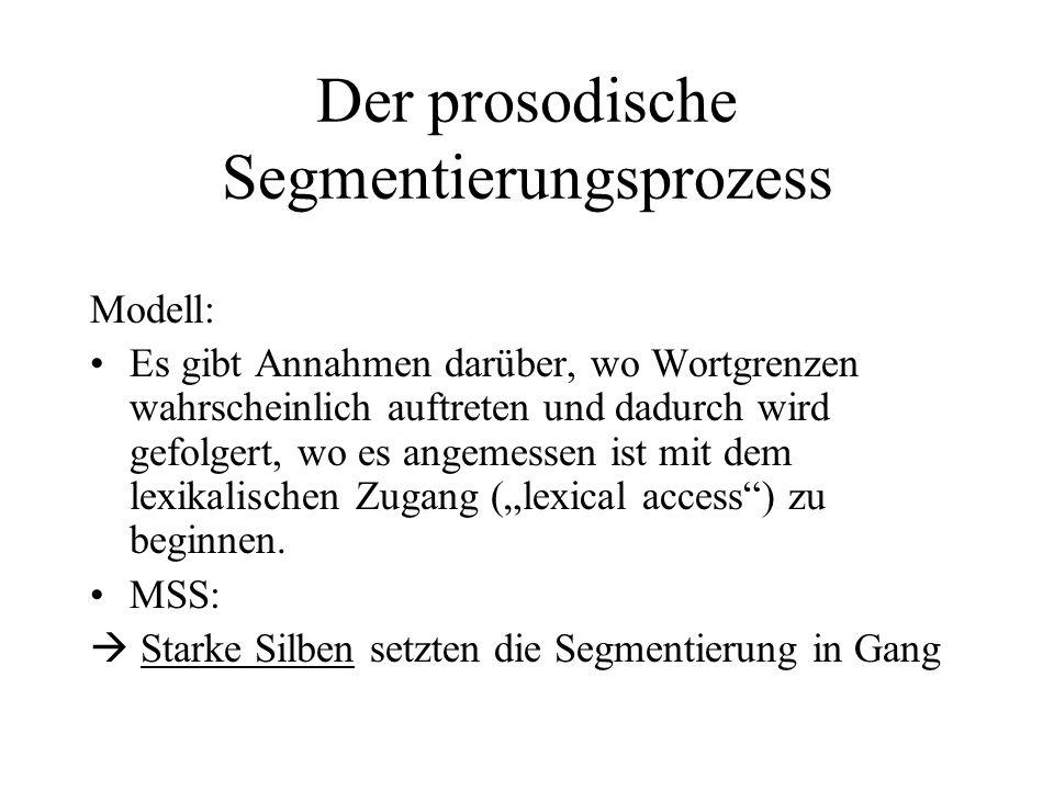 Der prosodische Segmentierungsprozess Modell: Es gibt Annahmen darüber, wo Wortgrenzen wahrscheinlich auftreten und dadurch wird gefolgert, wo es ange