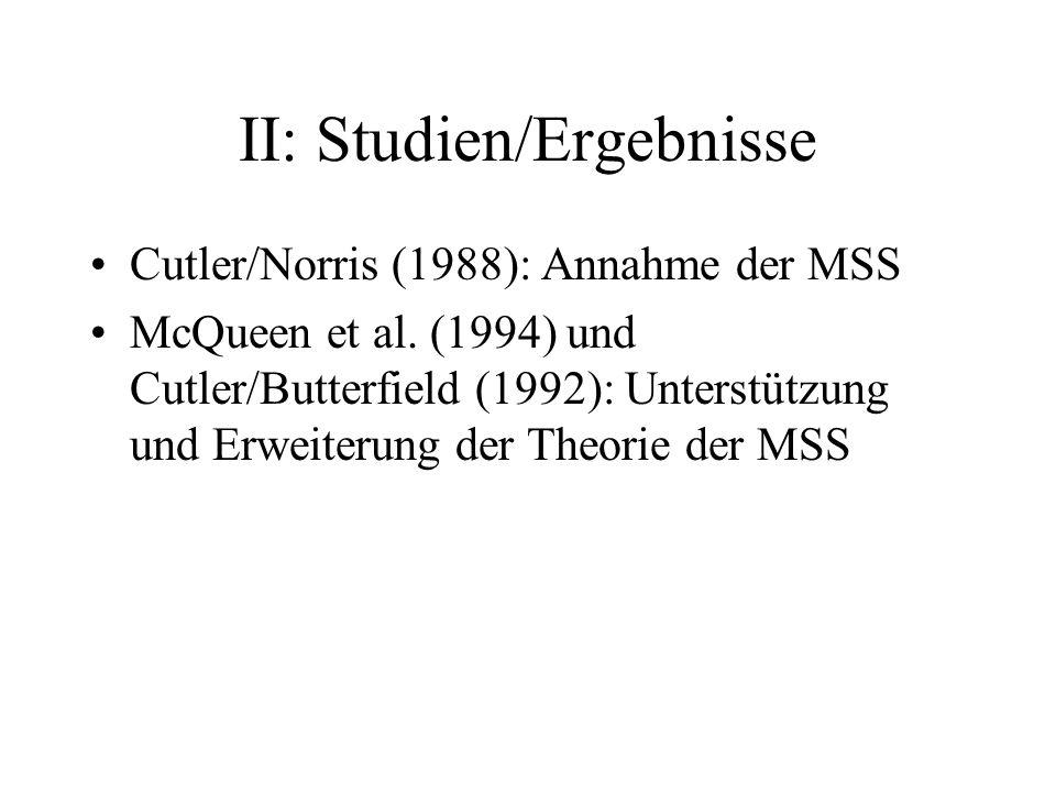 II: Studien/Ergebnisse Cutler/Norris (1988): Annahme der MSS McQueen et al. (1994) und Cutler/Butterfield (1992): Unterstützung und Erweiterung der Th