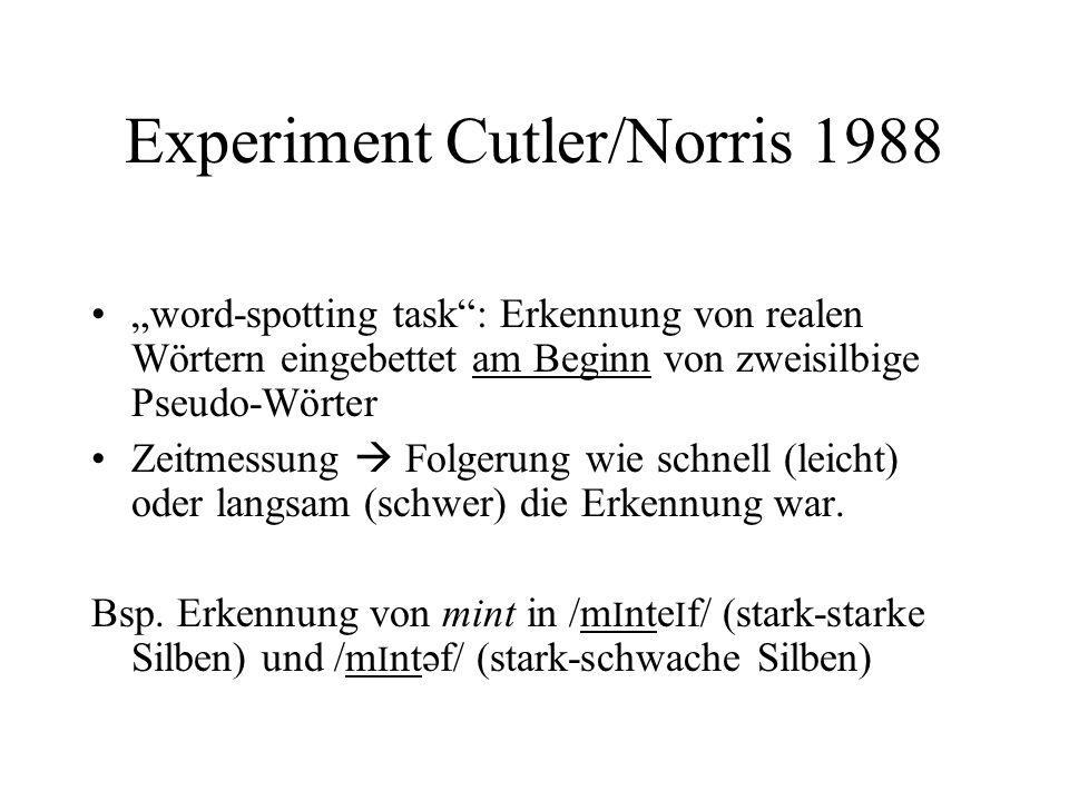 Experiment Cutler/Norris 1988 word-spotting task: Erkennung von realen Wörtern eingebettet am Beginn von zweisilbige Pseudo-Wörter Zeitmessung Folgeru