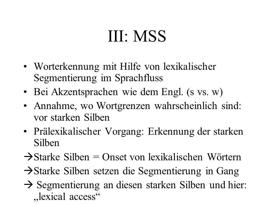 III: MSS Worterkennung mit Hilfe von lexikalischer Segmentierung im Sprachfluss Bei Akzentsprachen wie dem Engl. (s vs. w) Annahme, wo Wortgrenzen wah