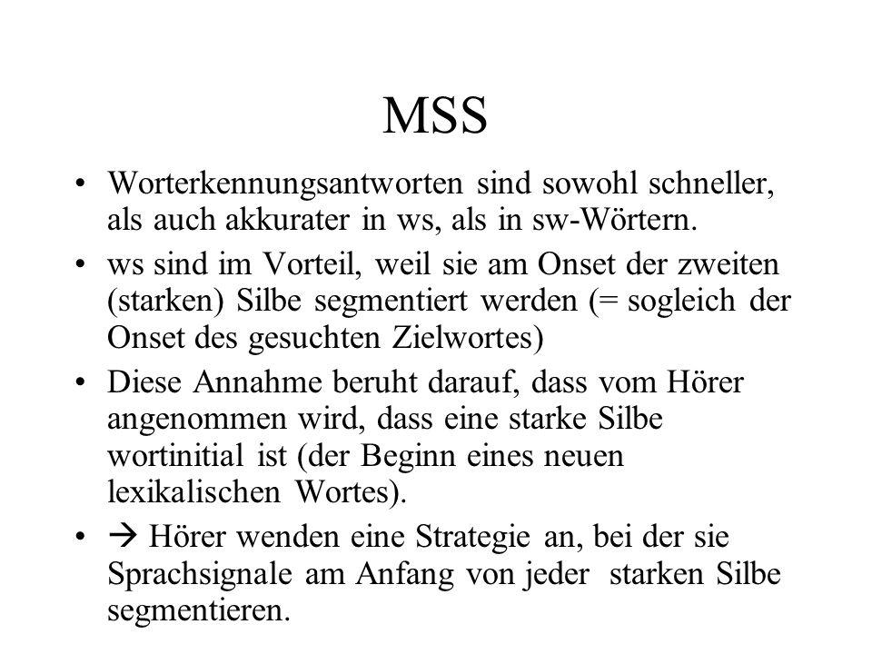 MSS Worterkennungsantworten sind sowohl schneller, als auch akkurater in ws, als in sw-Wörtern. ws sind im Vorteil, weil sie am Onset der zweiten (sta