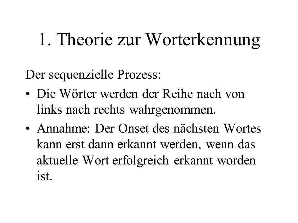 1. Theorie zur Worterkennung Der sequenzielle Prozess: Die Wörter werden der Reihe nach von links nach rechts wahrgenommen. Annahme: Der Onset des näc