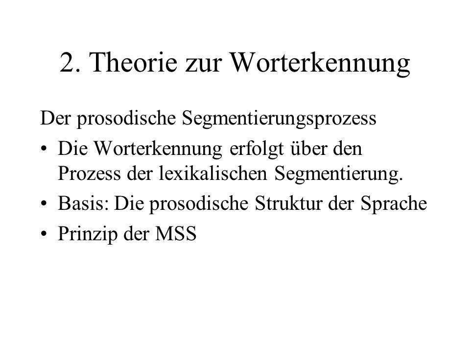 Der prosodische Segmentierungsprozess Modell: Es gibt Annahmen darüber, wo Wortgrenzen wahrscheinlich auftreten und dadurch wird gefolgert, wo es angemessen ist mit dem lexikalischen Zugang (lexical access) zu beginnen.