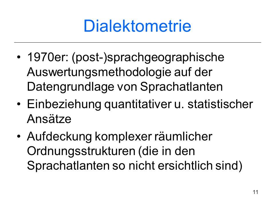 10 Sprachdatensammlungen Beginn des 20. Jh.: Sprachaufnahmen z.T. sehr genau transkribiert (Teuthonista- Lautschrift) Institut für deutsche Sprache (I