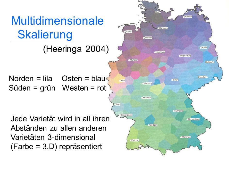 22 Clustering Verteilung der großen Dialektgebiete bestätigt (vgl. König 1994; Niebaum & Macha 1999) Benrather Linie anhand typischer Merkmale wie dem