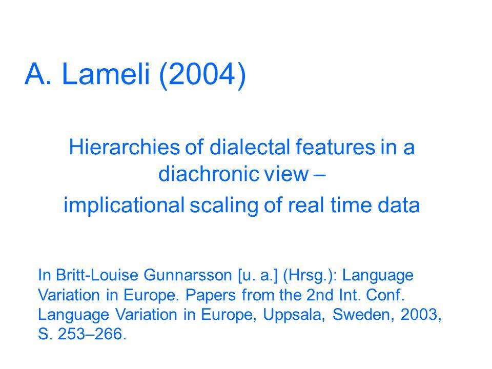 27 Messung Einzellaute der regionalen Varietät und des Bezugssystems werden aufeinander abgebildet Dialektalitätssrohwerte pro Segmentdifferenzen: Ein