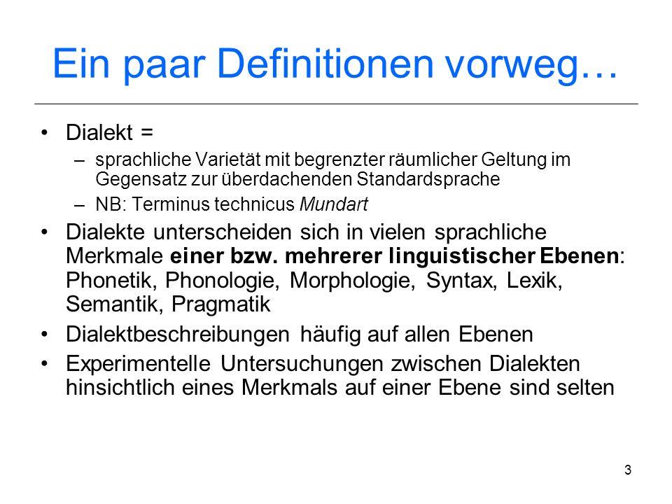 2 Einführung Sprechermerkmale: u.a. dialektaler Hintergrund