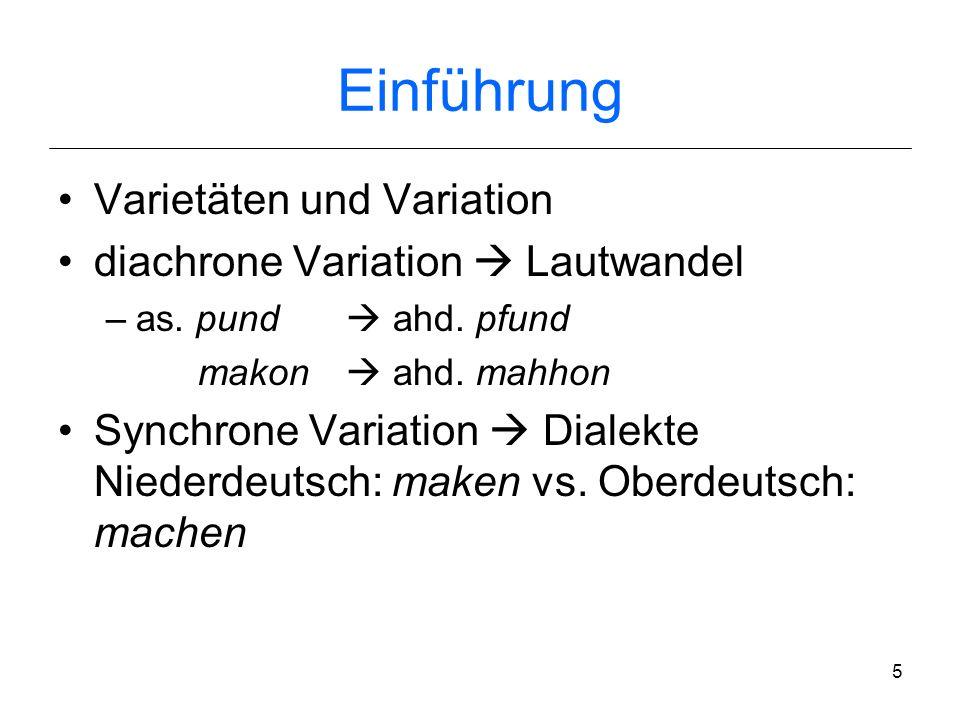 4 Einführung Variation innerhalb eines Dialekts: –Vollmundart, –Halbmundart, –landschaftlich gefärbte Umgangssprache, –…