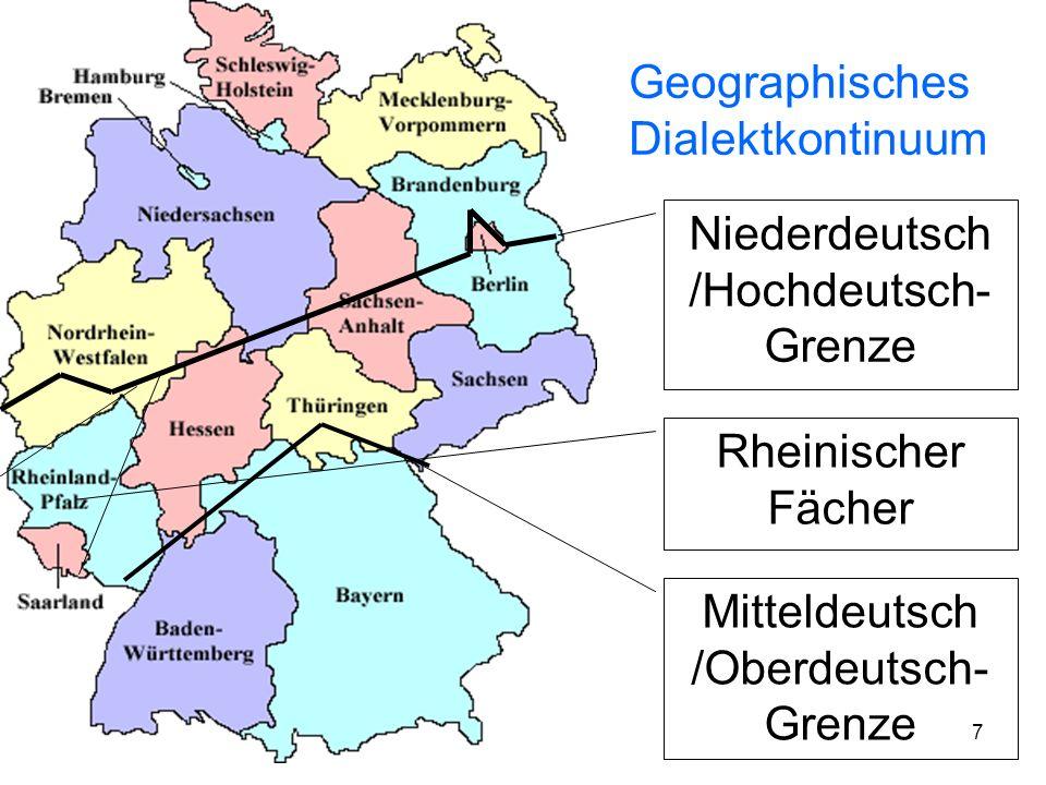 6 Mittelbairisch Nordbairisch Ostfränkisch Westthüringisch Niederfränkisch Holsteinisch Nordniedersächsisch Westfälisch Ostfälisch Märkisch Obersächsi