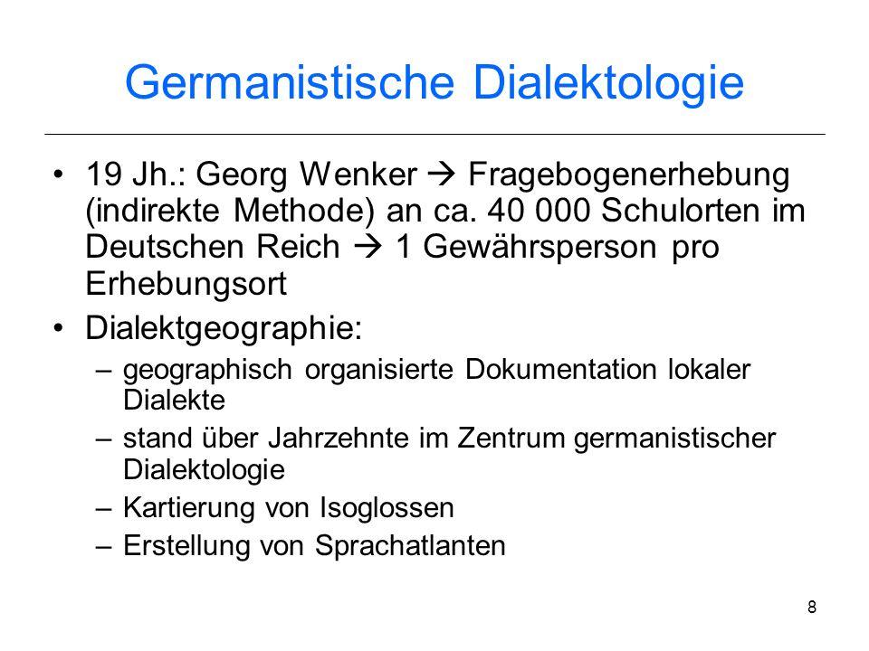 7 Niederdeutsch /Hochdeutsch- Grenze Mitteldeutsch /Oberdeutsch- Grenze Rheinischer Fächer Geographisches Dialektkontinuum