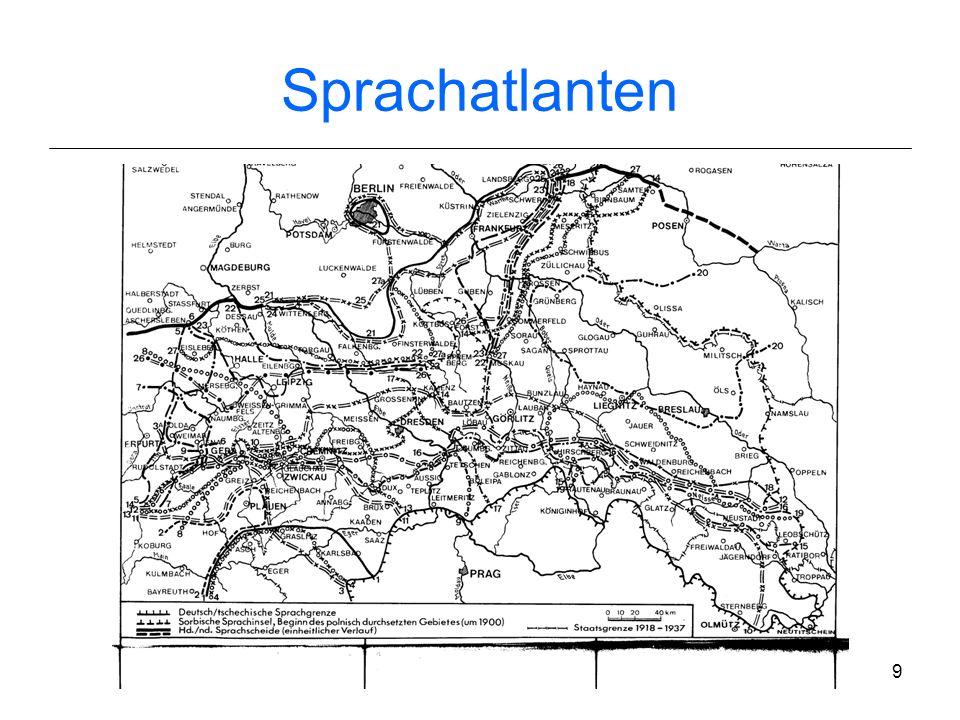 8 Germanistische Dialektologie 19 Jh.: Georg Wenker Fragebogenerhebung (indirekte Methode) an ca. 40 000 Schulorten im Deutschen Reich 1 Gewährsperson