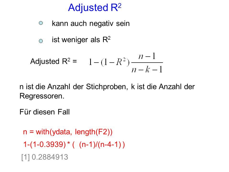 Adjusted R 2 Adjusted R 2 = n ist die Anzahl der Stichproben, k ist die Anzahl der Regressoren. 1-(1-0.3939) * ( (n-1)/(n-4-1) ) n = with(ydata, lengt
