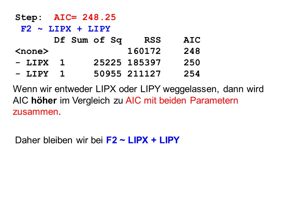 Step: AIC= 248.25 F2 ~ LIPX + LIPY Df Sum of Sq RSS AIC 160172 248 - LIPX 1 25225 185397 250 - LIPY 1 50955 211127 254 Wenn wir entweder LIPX oder LIP