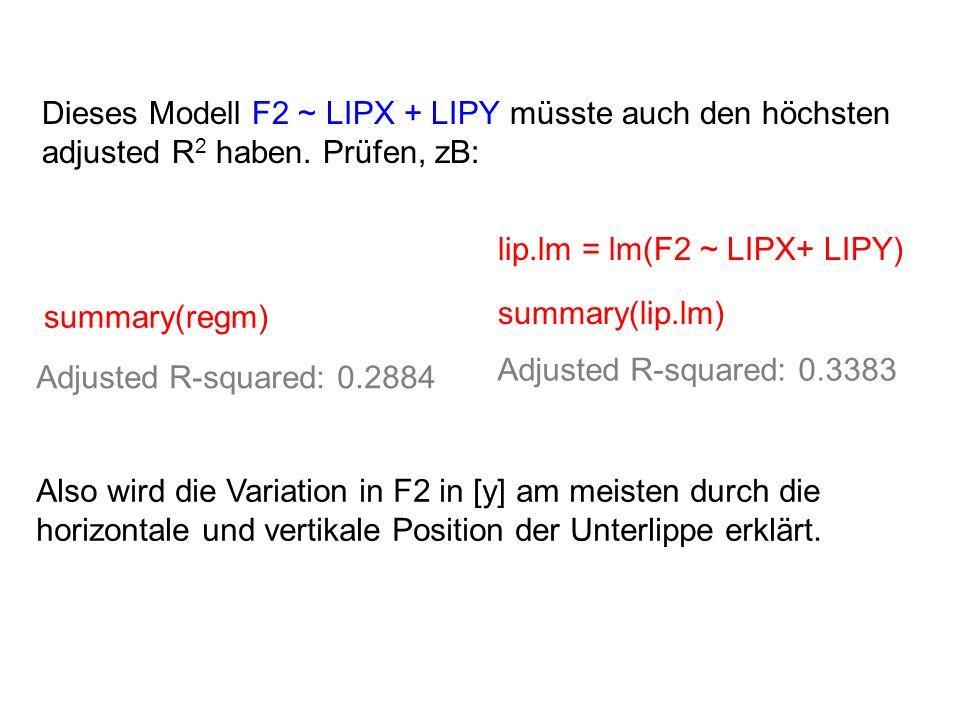 Dieses Modell F2 ~ LIPX + LIPY müsste auch den höchsten adjusted R 2 haben. Prüfen, zB: summary(regm) summary(lip.lm) Adjusted R-squared: 0.3383 Adjus