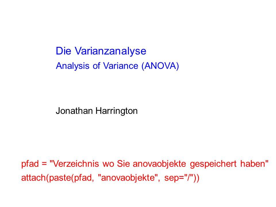 Da wir in diesem Fall mit einem Faktor und 2 Stufen zu tun haben, hätten wir das gleiche Ergebnis mit einem t-test bekommen können Beziehung: t-test und ANOVA t.test(F2 ~ V, var.equal=T) t = -2.688, df = 18, p-value = 0.01503 alternative hypothesis: true difference in means is not equal to 0 95 percent confidence interval: -381.97452 -46.82548 sample estimates: mean in group E mean in group I 1638.8 1853.2 Die t-Statistik ist die Wurzel vom F-Ratio aus der ANOVA