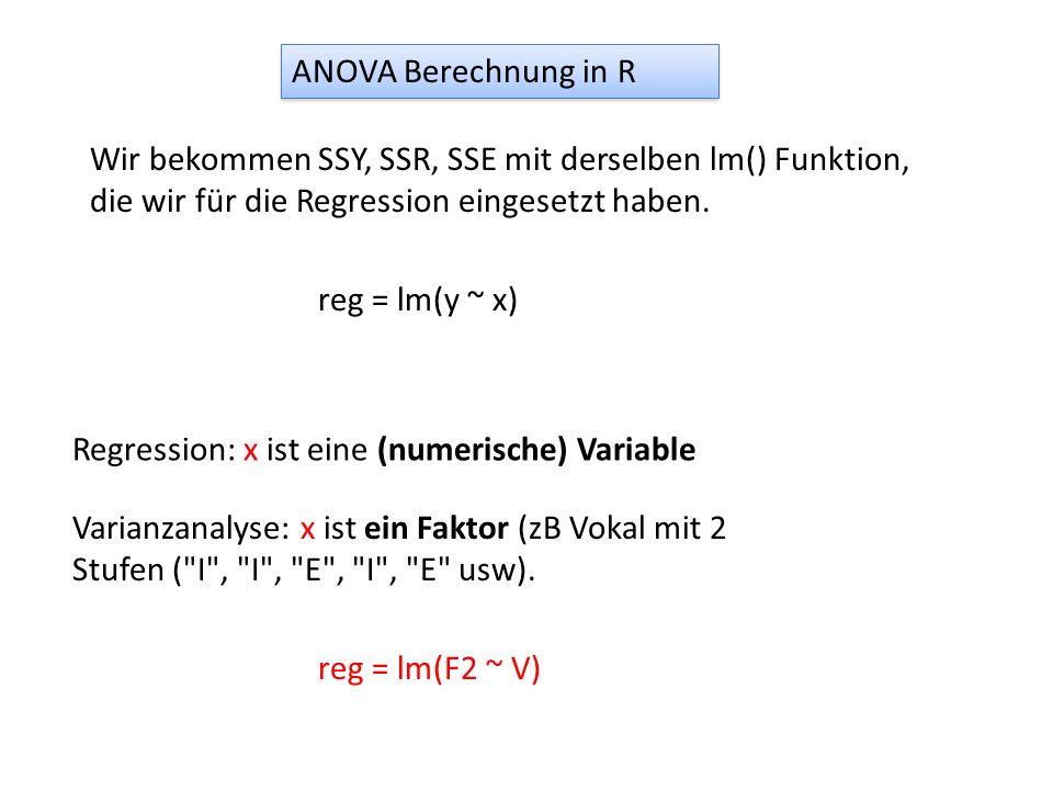 ANOVA Berechnung in R Wir bekommen SSY, SSR, SSE mit derselben lm() Funktion, die wir für die Regression eingesetzt haben. Regression: x ist eine (num