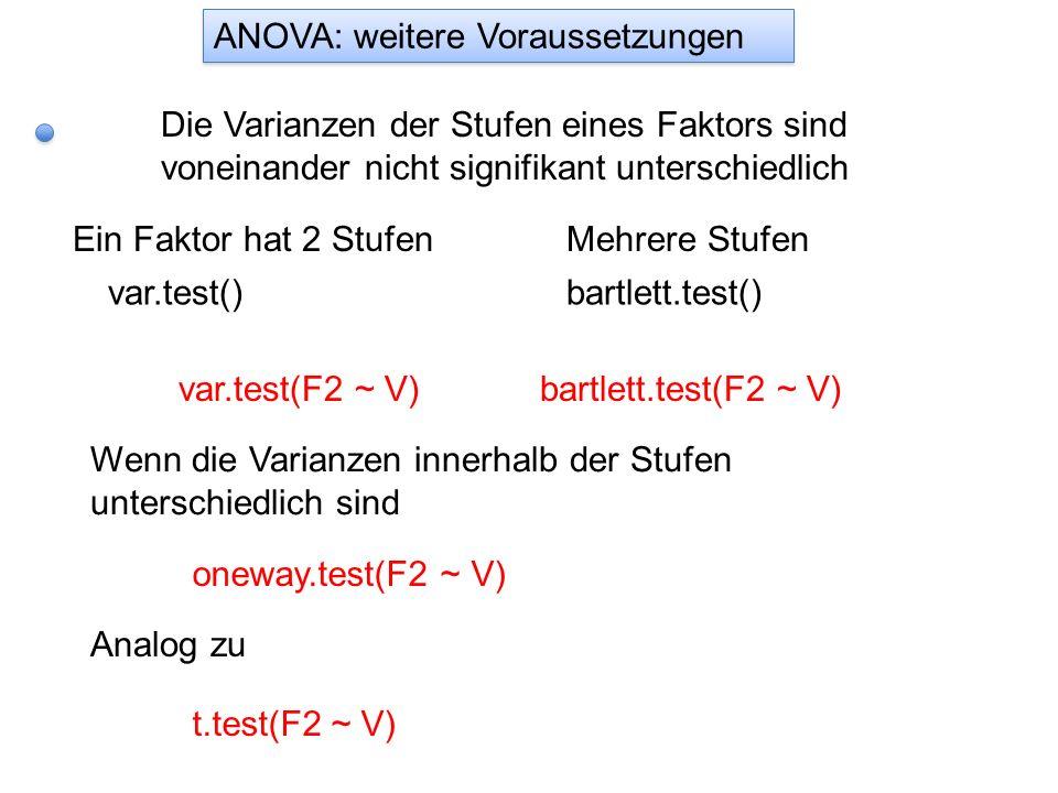 ANOVA: weitere Voraussetzungen Die Varianzen der Stufen eines Faktors sind voneinander nicht signifikant unterschiedlich Ein Faktor hat 2 Stufen var.t