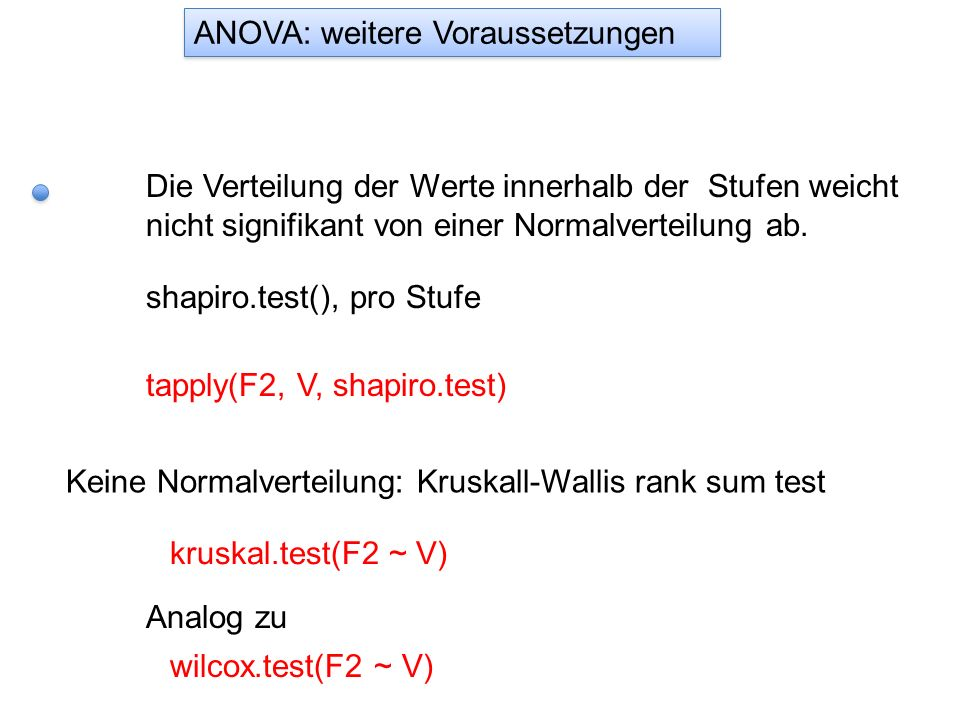 Die Verteilung der Werte innerhalb der Stufen weicht nicht signifikant von einer Normalverteilung ab. shapiro.test(), pro Stufe tapply(F2, V, shapiro.