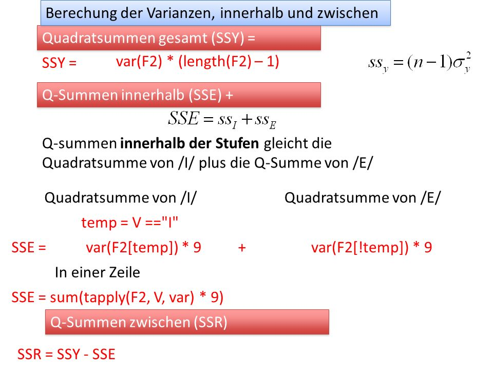 Zwei Faktoren vok.aov = aov(F2 ~ Vokal * Gen) anova(vok.aov) genau das Gleiche wie reg = lm(F2 ~ Vokal * Gen) anova(reg) Analysis of Variance Table Response: F2 Df Sum Sq Mean Sq F value Pr(>F) Vokal 2 5578128 2789064 119.637 < 2.2e-16 *** Gen 1 2474570 2474570 106.147 2.354e-14 *** Vokal:Gen 2 563391 281696 12.083 4.603e-05 *** Residuals 54 1258885 23313 --- Signif.